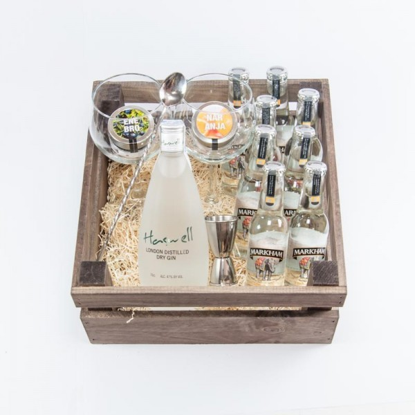 "Pack Regalo Gin Tonic de Haswell London Dry Gin y Tónica Markham ""Indian Drop"""