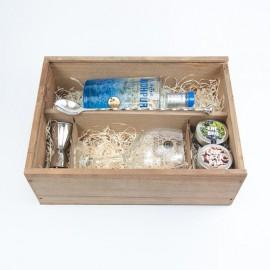 Estuche regalo Ginebra Jodhpur, con copa, botánicos y accesorios de cocteleria